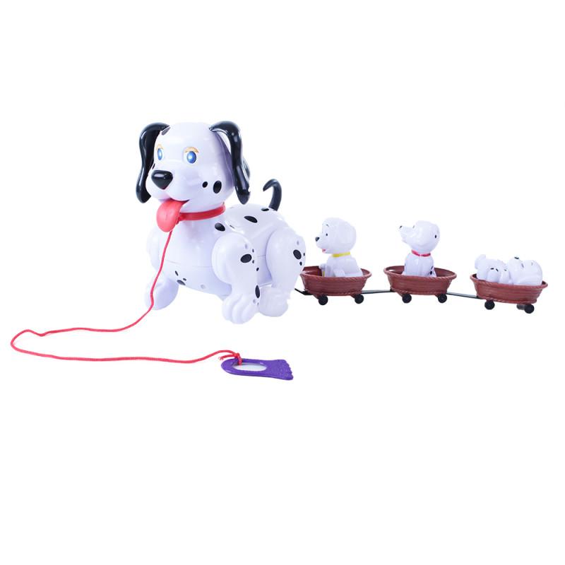 Pes chodící se štěňaty a vodítkem a se zvukem