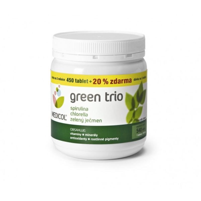 Green Trio (zelený ječmen, chlorella, spirulina) 540 tablet