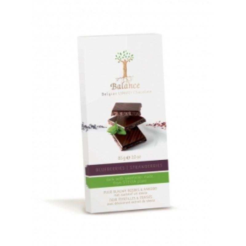 Hořká čokoláda s borůvkami a jahodami se stévií Balance