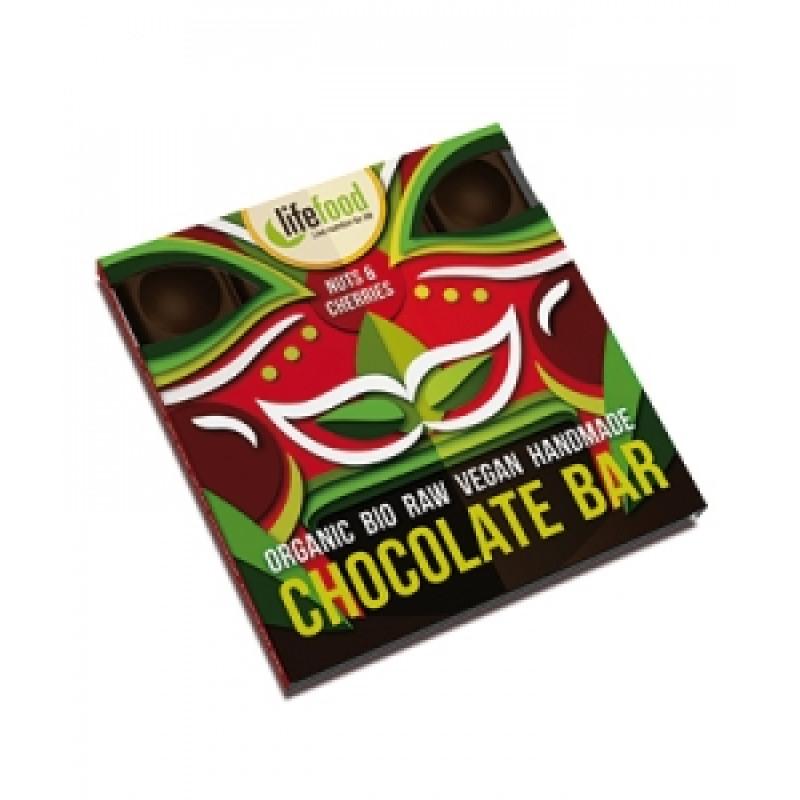Lifefood střední čokoláda s ořechy a třešněmi BIO