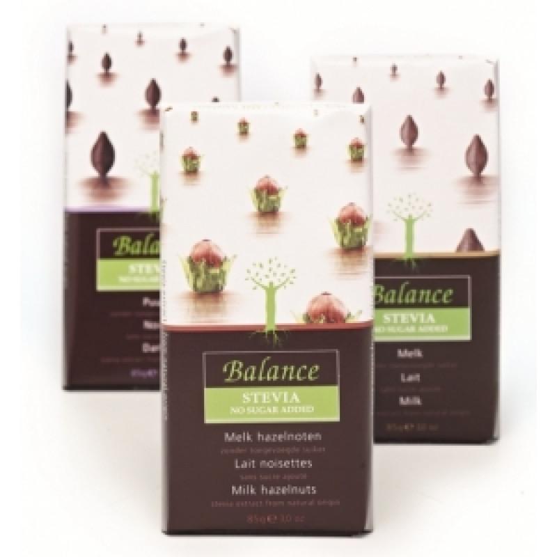 Mléčná čokoláda s lískovými oříšky se stévií Balance
