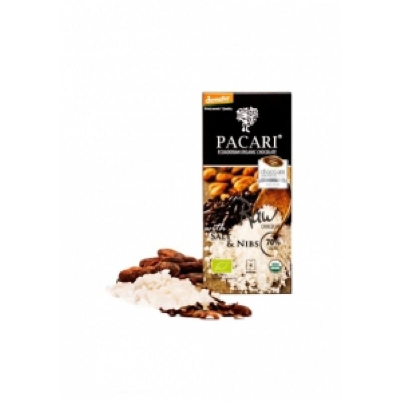Pacari hořká čokoláda se solí a kakaovými boby BIO