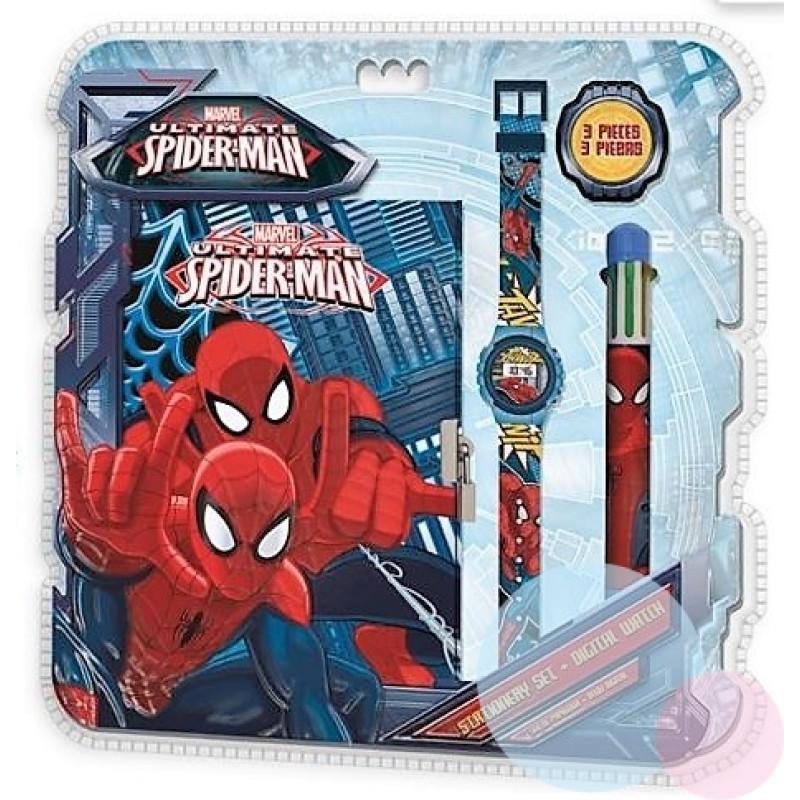 Zápisník, hodinky a propiska Spiderman