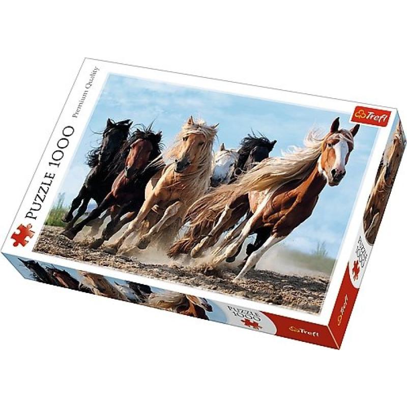 PUZZLE cválající koně 1000 dílků