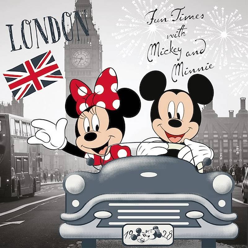 Povlak na polštářek Mickey a Minnie v Londýně micro