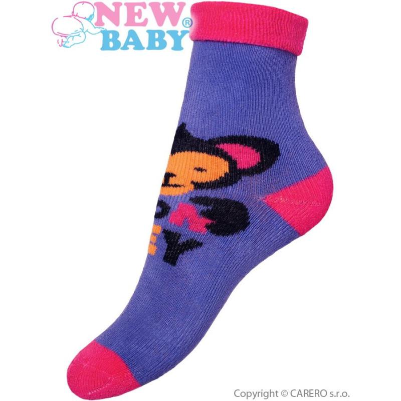 Ponožky New Baby fialové s opicí