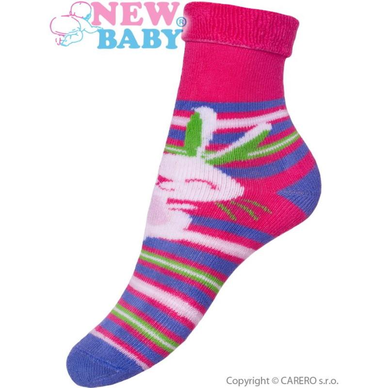 Ponožky New Baby růžovo-fialové s zajícem