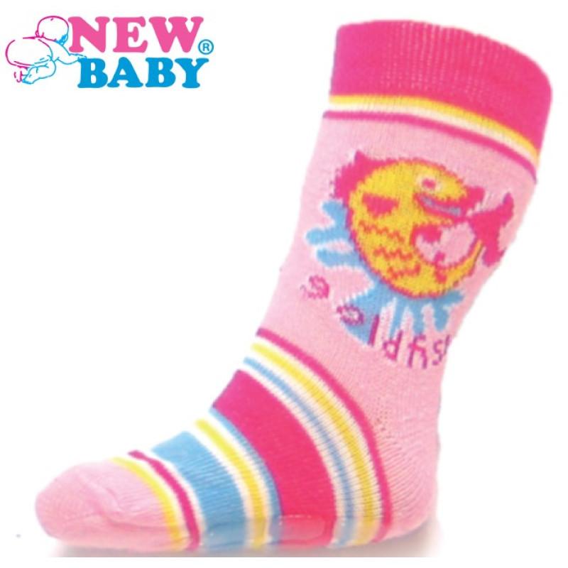Ponožky New Baby s ABS růžové gold fish