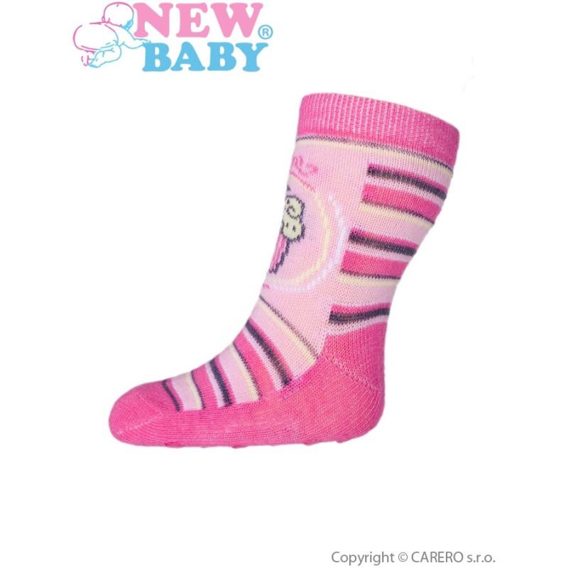 Ponožky New Baby s ABS s proužky a dortem