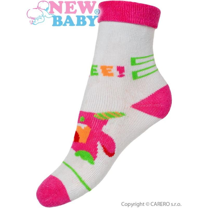 Ponožky New Baby šedo-růžové s robotem