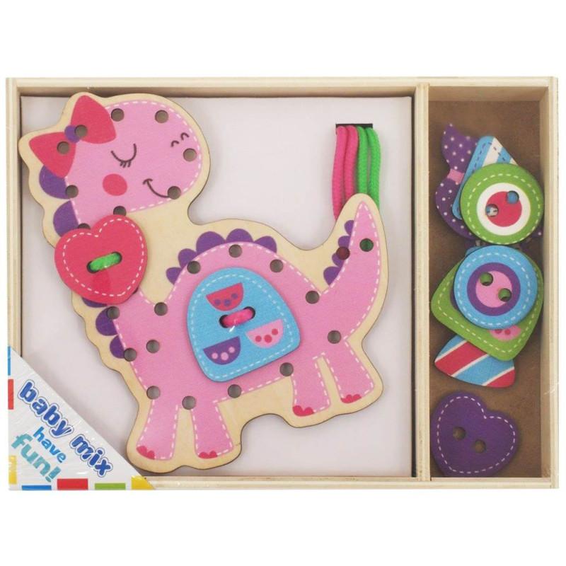 Dřevěná provlékací hračka Baby Mix Dino