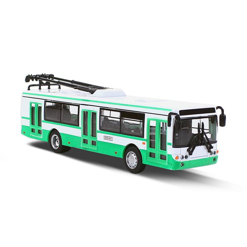 Kovový trolejbus zelený, 16 cm